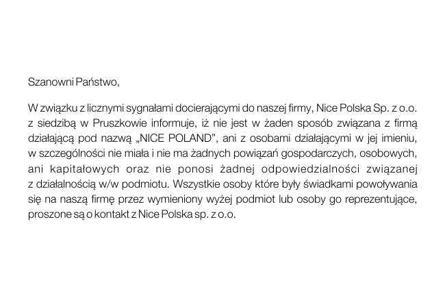 Uwaga na oszustów podszywających się pod Nice Polska sp. z o.o.